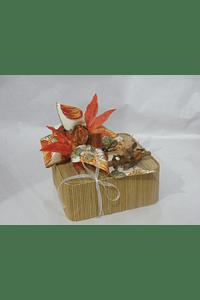 O1802 Caixa quadrada bambu decorada