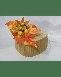 O1809 Coração bambu decorado folhas de outono