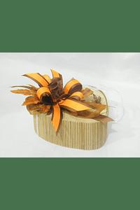 O1810 Coração bambu pequeno decorado laranja/ cartanho