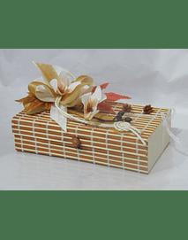 O1812 Caixa bambu retangular grande decorada