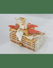 O1814 Caixa bambu retangular pequena decorada