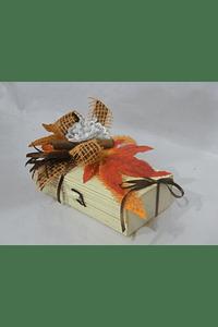 O1815 Caixa bambu retangular pequena decorada laranja