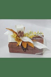 O1816 Caixa bambu castanha retangular pequena decorada