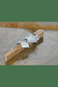 C11003 - Leque em madeira decorado com arame prata