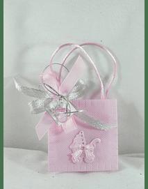 C15245 - Saco tecido rosa com chupeta e sabonete