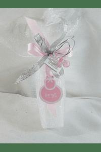 C15253 - Vela no tule decorada em rosa com biberão e chupeta