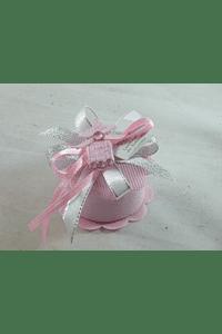 C15256 - Caixa redonda em tecido rosa