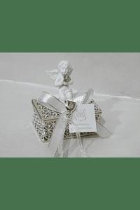 C19340 - Caixinha acrilica prata decorada com anjo