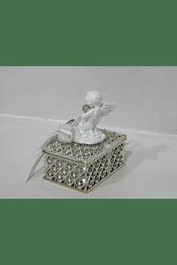 C19340 - Caixinha acrílica prata decorada com anjo