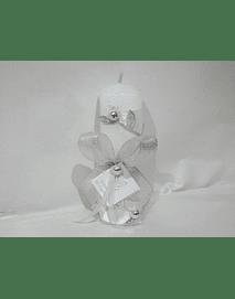 C19345 - Vela quadrada decorada com fita folhas