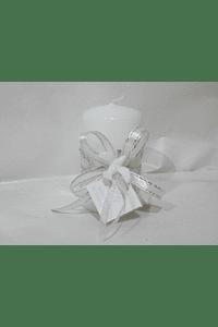 C19346 - Vela redonda decorada com fita folhas
