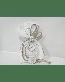 C19351 - Saco quadrilé decorado com cordão matizado