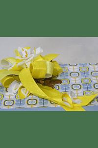 P19001  Caixa madeira amarelo com azul decorada