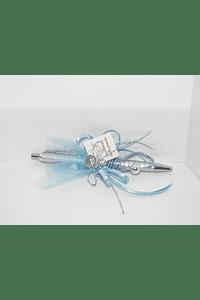 C11223 - Caneta prateada decorada a azul