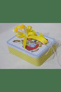 P19017 -  Lata retangular amarela mãe coelha