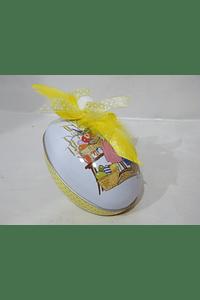P19022 Lata ovo grande decorada amarelo