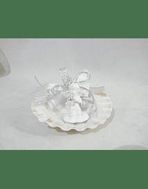 C16266 - Concha com anjo bola brilhante decorado
