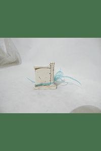 C16270 - Placa pergaminho decorada azul