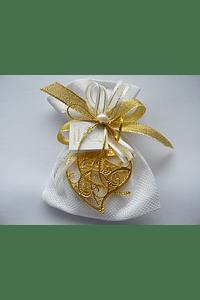 C16001 - Saco quadrilé com coração de Viana dourado
