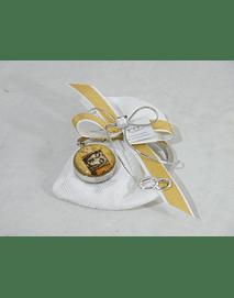 C16002 - Saco quadrilé decorado com suporte para bolsa