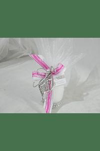 C16004 - Vela redonda decorada com coração de Viana