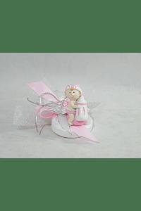 C16286 Tule branco com bebe biberão rosa