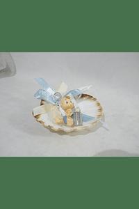C16291 Concha decorada com bebe careca azul