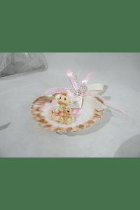 C16292 - Concha decorada com bebe careca rosa