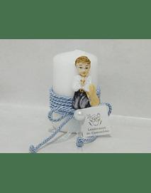 C20360 -Vela redonda decorada com menino comunhão