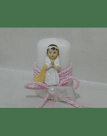 C20361  - vela redonda decorada em rosa com menina comunhão