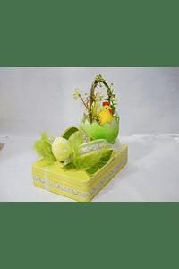 P20003 - caixa metal amarela retangular grande com cesto ovo