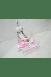 P20300 - caixa metal rosa retangular grande com coelhinha