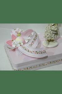 P20301 - caixa metal rosa retangular grande com ninfa