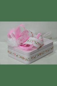 P20303 - caixa metal rosa retangular pequena decorada