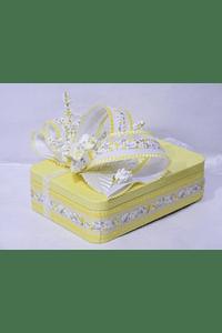 P20002 - caixa metal amarela retangular pequena decorada amarelo