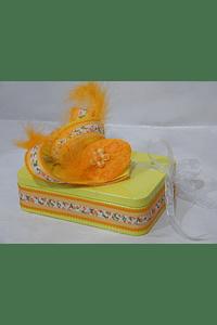 P20102 - caixa metal amarela retangular pequena decorada laranja
