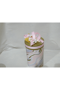P20304 - Caixa cilindro grande decorada cor de rosa
