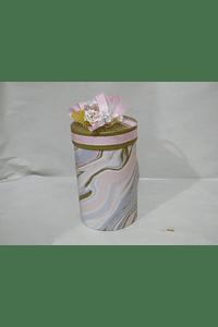 P20305 - Caixa cilindro media decorada cor de rosa