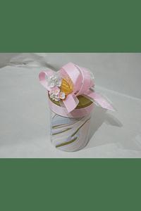 P20306 - Caixa cilindro pequena decorada cor de rosa