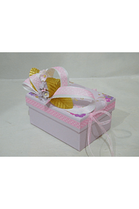 P20310 - Caixa retangular pequena decorada cor de rosa