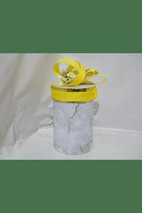 P20005 - Caixa cilindro media decorada amarelo