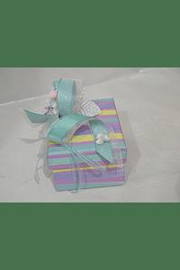 P20207 - Caixa retangular riscas pequena decorada verde-água