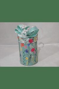P20209 - Caixa cilindro media decorada verde-água