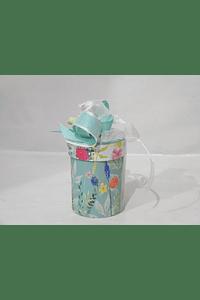 P20210 - Caixa cilindro pequena decorada verde-água