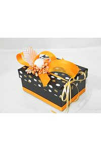 P20104 - Caixa retangular pequena decorada cor de laranja