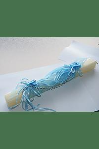 C9095 - Vela quadrada para Batizado decorada azul