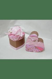 P20318 - Caixa cartão coração decorada cor de rosa