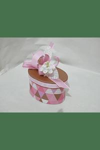 P20319 - Caixa cartão oval rosa decorada