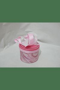 P20317 - Caixa cartão redonda decorada cor de rosa