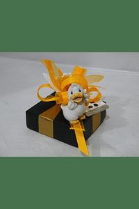 P20116- Pequena cartonagem, decorada em tons laranja com patinho.
